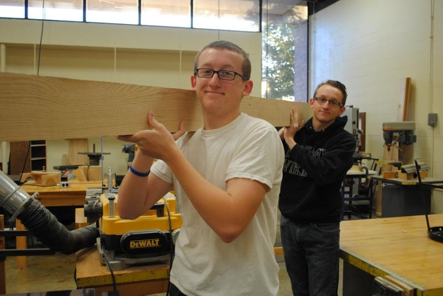 Nathan and Trevor Schmidt working in the Fremd wood shop