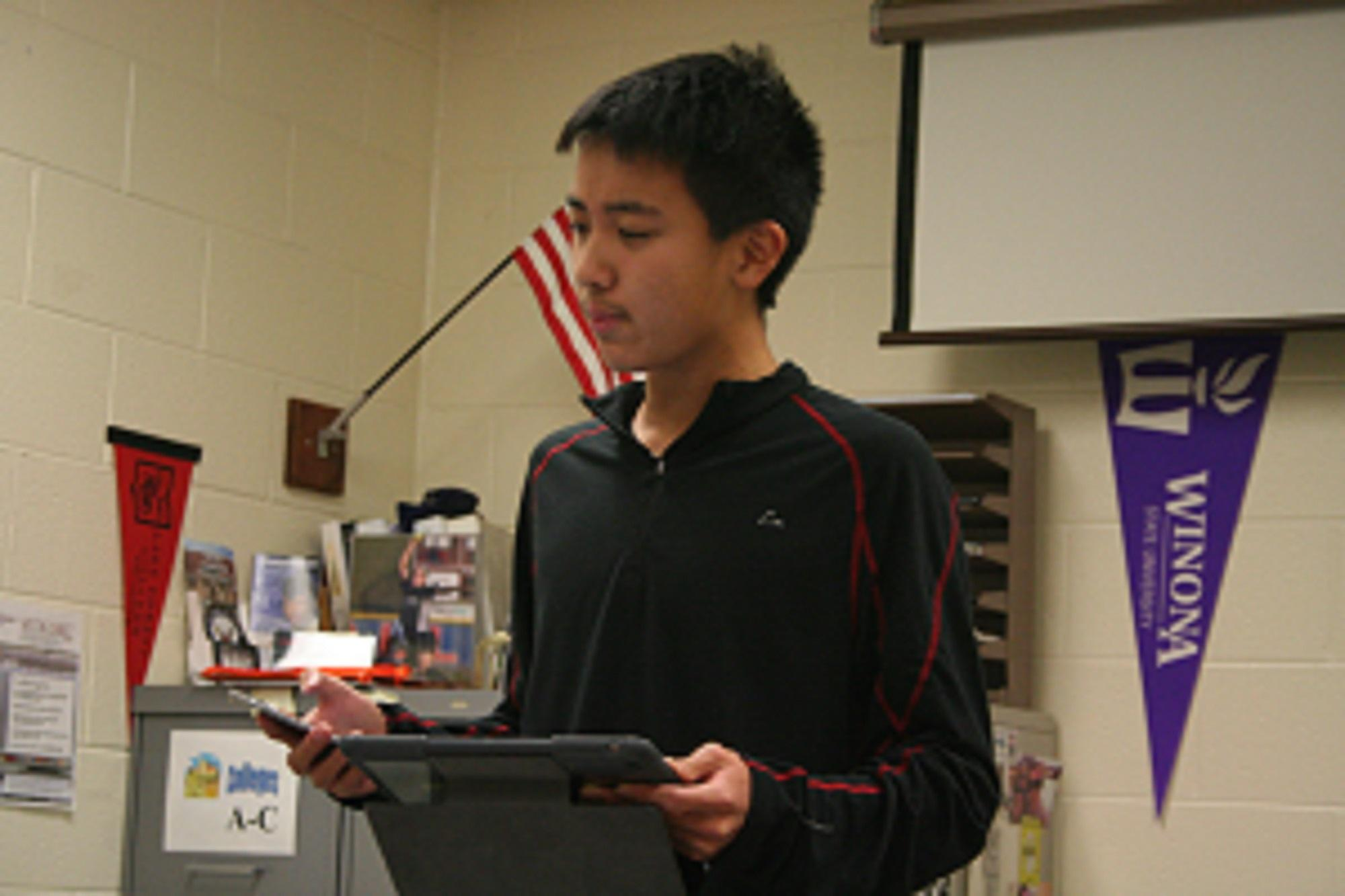 Sophomore Mingda Zhang practices for upcoming debate tournament (Photo courtesy of Jess Kopec)