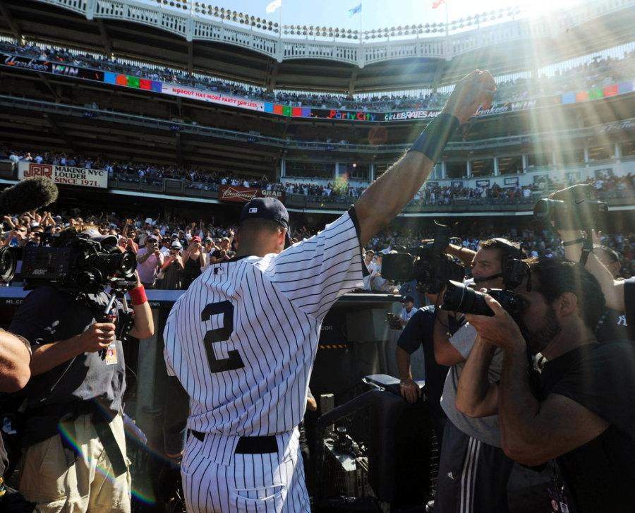 Yankees shortstop Derek Jeter says goodbye to his fans at Yankee Stadium.