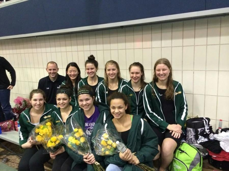 The+girls+swimming+and+diving+team+poses+after+their+best+finish+at+state+in+school+history