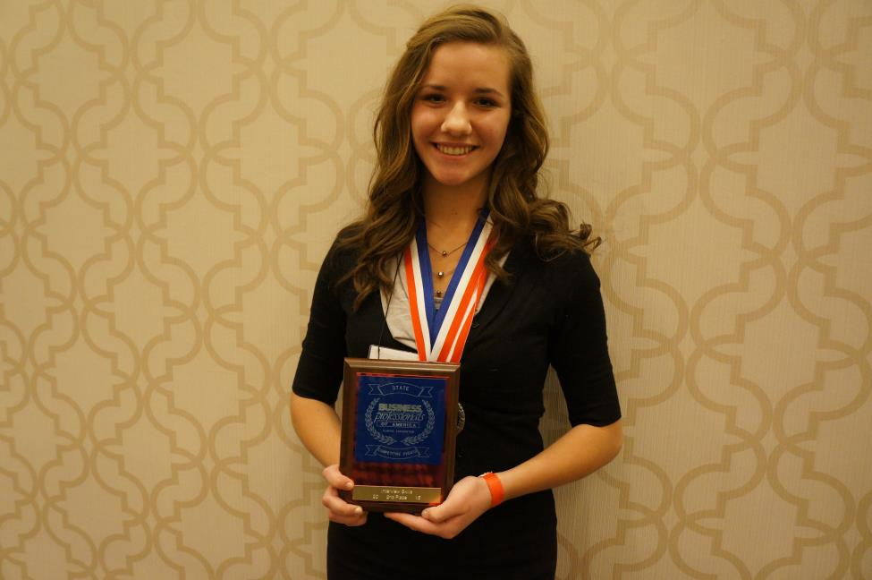 National qualifier Yulia Odinokova placed second in Interview Skills and fourth in Entrepreneurship at BPA State.