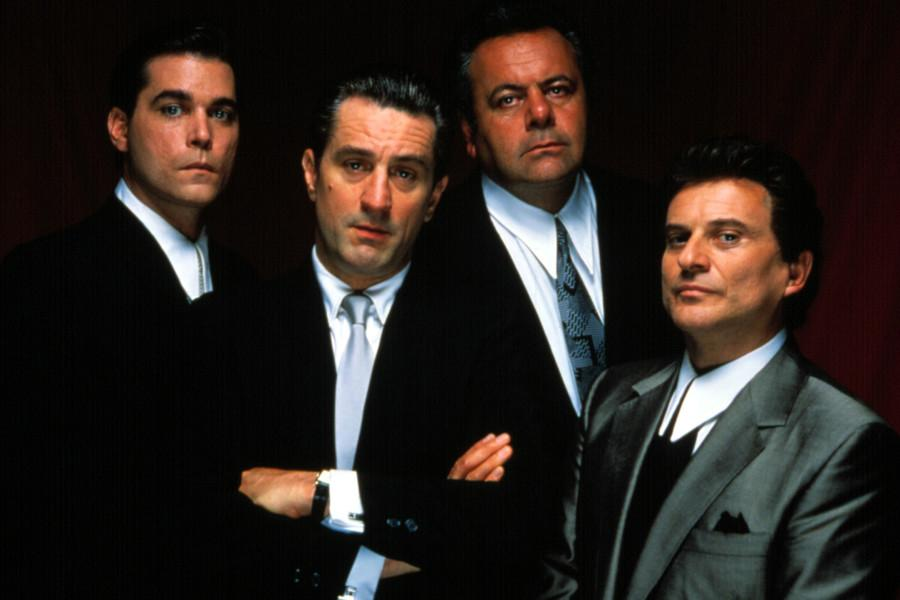 Ray Liotta, Robert De Niro, Paul Sorvino, Joe Pesci in a promo shot for the classic 1990 film