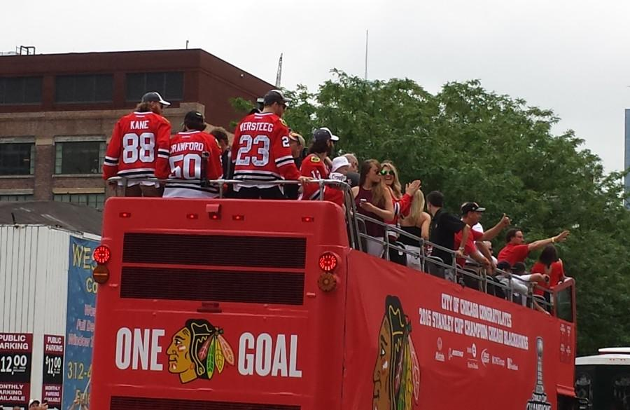 Kane+and+the+Blackhawks+celebrate+their+2015+Stanley+Cup+Championship+with+a+victory+parade+in+Chicago.+%28Photo+courtesy+of+Scott+Lenz%29