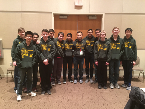 The chess team takes a break from competition at the state tournament. (Logue photo by Jerry Moon)