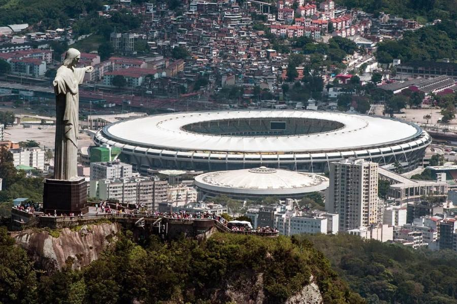 The Christ the Redeemer statue in Rio de Janeiro overlooks one of the new Olympic stadiums. (Photo from NBC)