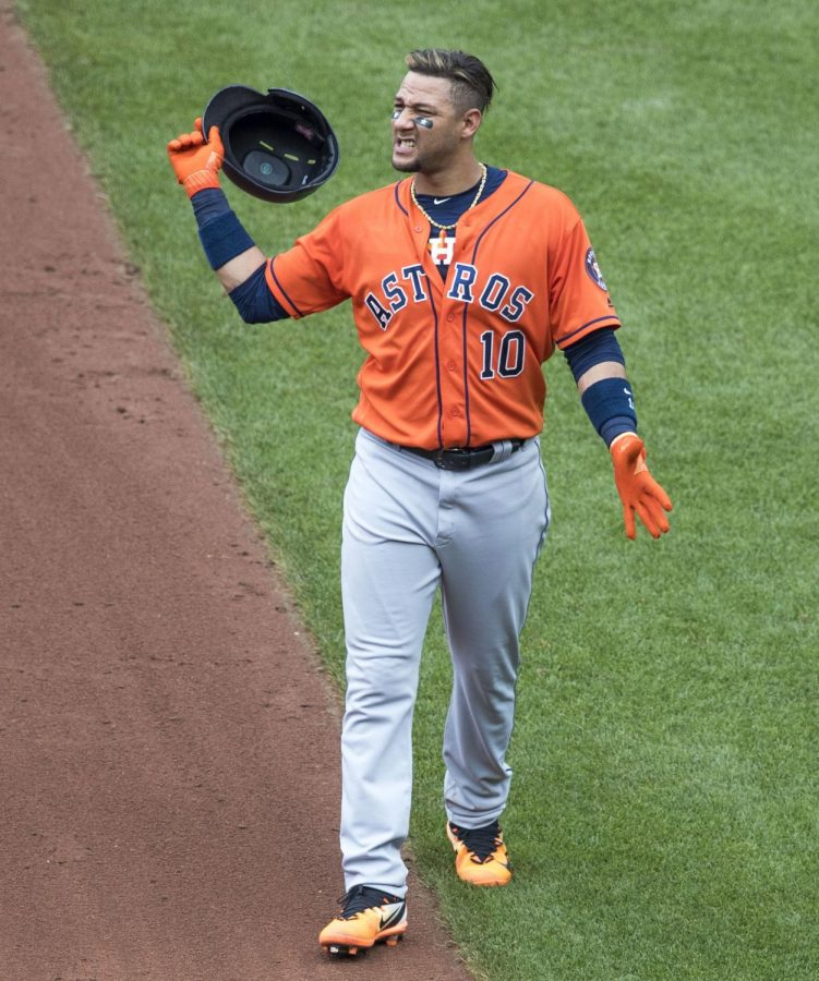 Yuli+Gurriel+of+the+Astros+was+seen+making+a+racist+gesture+during+the+third+game+of+the+World+Series.